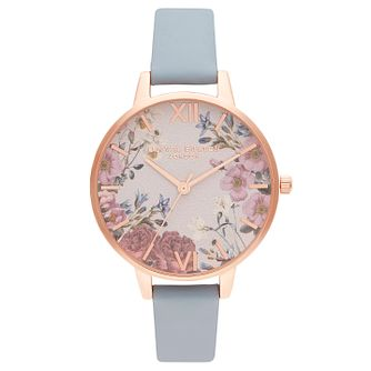 Olivia Burton British Bloom Blue Leather Strap - Product number 2970635