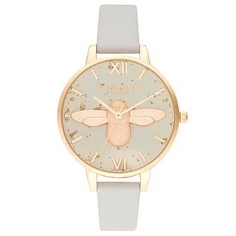 Olivia Burton Celestial 3D Bee Pink Leather Strap Watch - Product number 2970724