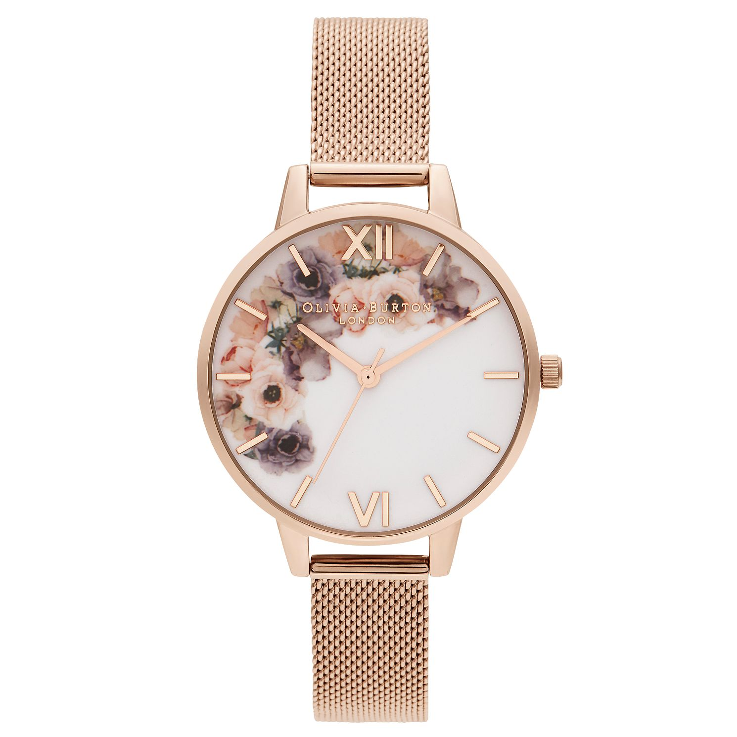 Olivia Burton Watercolour Florals Rose Tone Bracelet Watch - Product number 2970791