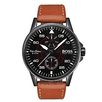 Hugo Boss Aviator Men's Brown Leather Strap Watch - Product number 2974223