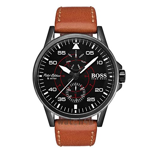 BOSS Aviator Men's Brown Leather Strap Watch - Product number 2974223