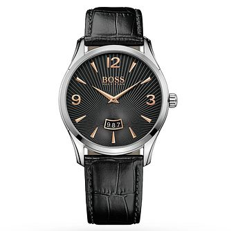 BOSS Commander Men's Black Leather Strap Watch - Product number 2974266