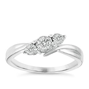 9ct White Gold 1/5 Carat Diamond Twist Trilogy Ring - Product number 2974940