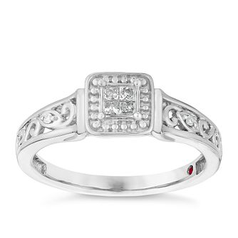 Cherished Argentium Silver & Diamond Square Cluster Ring - Product number 2977303