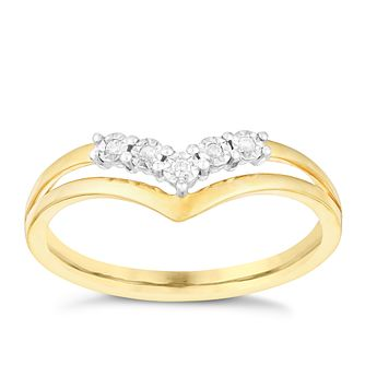 9ct Yellow Gold Wishbone Diamond Ring - Product number 2978830