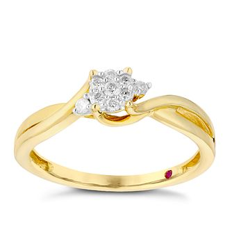 Cherished 9ct Yellow Gold Crossover Diamond Cluster Ring - Product number 2980479