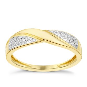 9ct Yellow Gold Twist Diamond Eternity Ring - Product number 2980622