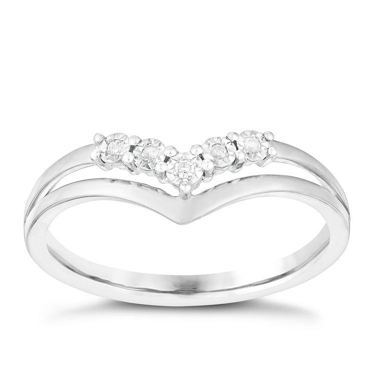 9ct White Gold Wishbone V Shaped Diamond Eternity Ring
