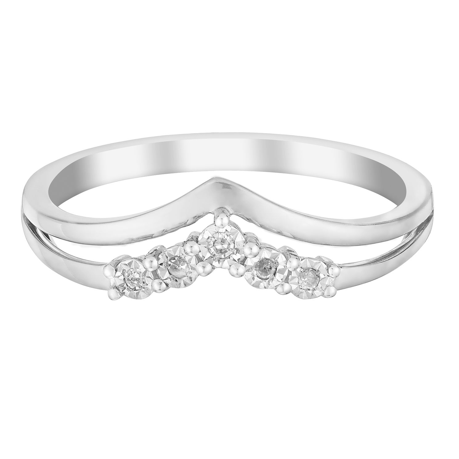 9ct White Gold Wishbone V Shaped Diamond Eternity Ring | H ...