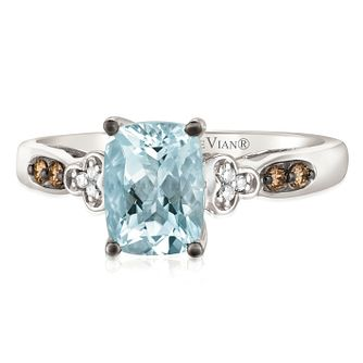14ct Vanilla Gold Sea Blue Aquamarine & Diamond Ring - Product number 2982331