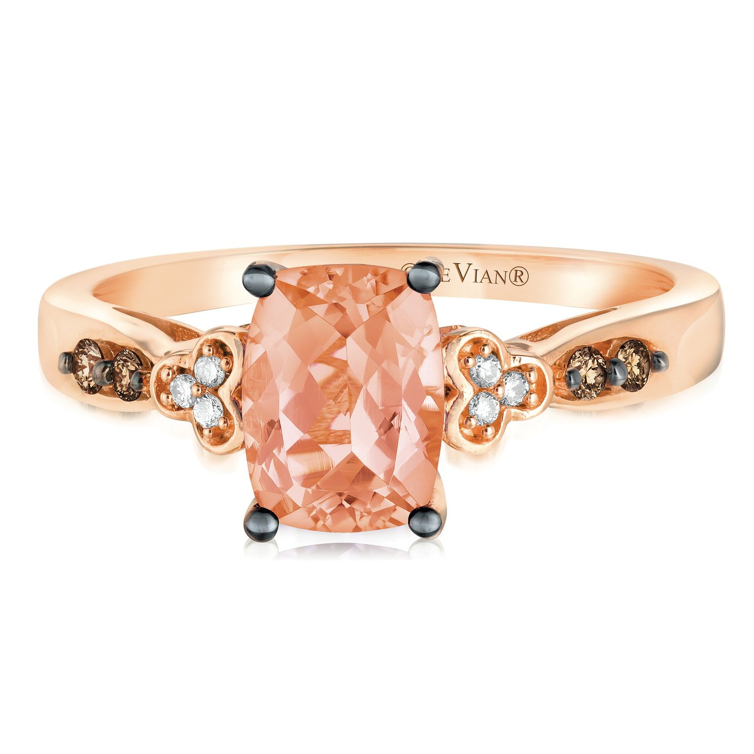14ct Strawberry Gold Peach Peach Morganite & Diamond Ring - Product number 2982617