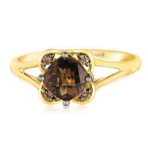 14ct Honey Gold Chocolate Quartz & Chocolate Diamond Ring - Product number 2982889