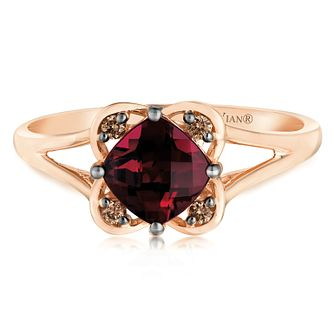 14ct Strawberry Gold Raspberry Rhodolite & Diamond Ring - Product number 2983680
