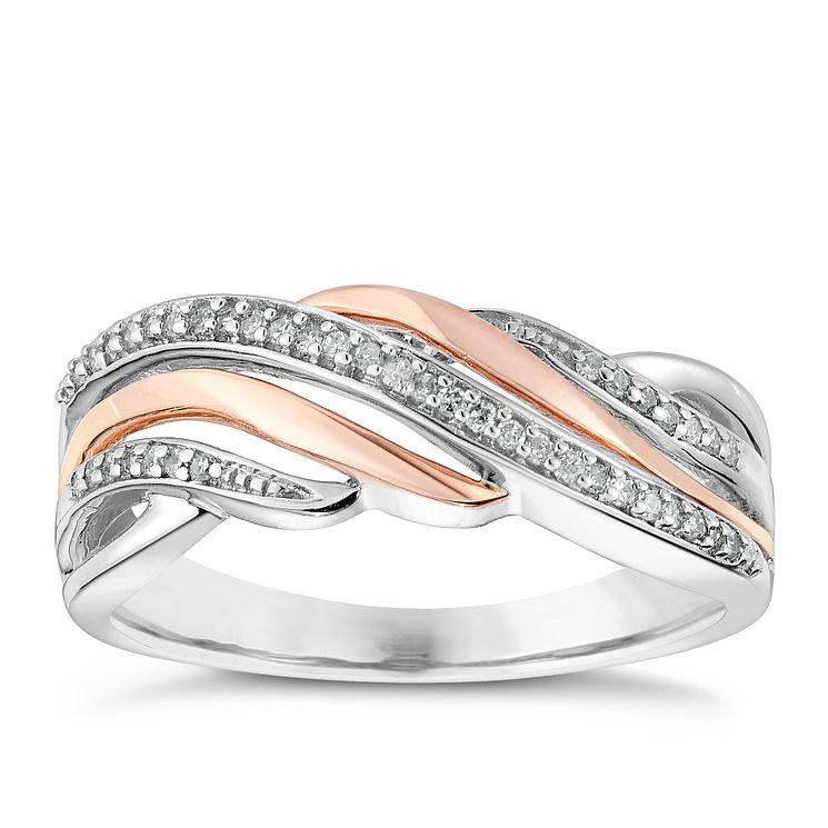 Silver & 9ct Rose Gold Diamond Wave Eternity Ring