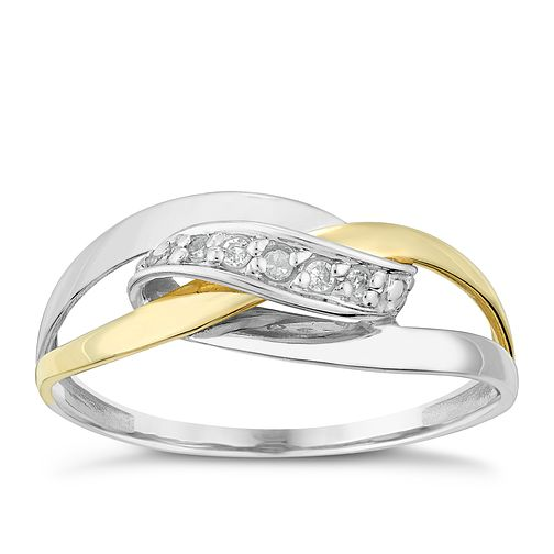 Silver & 9ct Yellow Gold Wrap Over Diamond Eternity Ring - Product number 2986264
