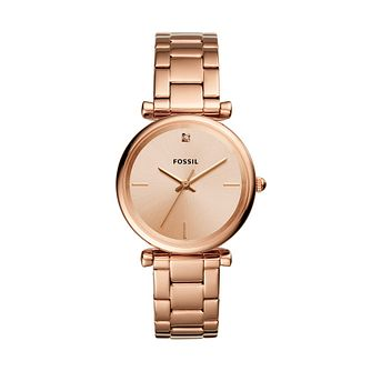 Fossil Ladies' Rose Gold Tone Bracelet Watch - Product number 2988550