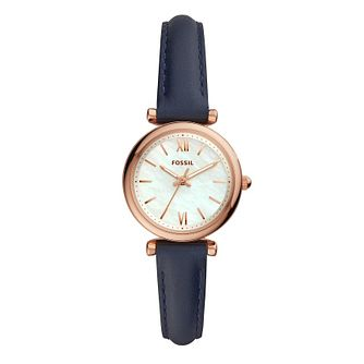 Fossil Ladies' Rose Gold Tone Blue Leather Strap Watch - Product number 2988690