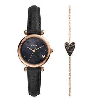 Fossil Ladies' Black Strap Watch & Bracelet Gift Set - Product number 2988704