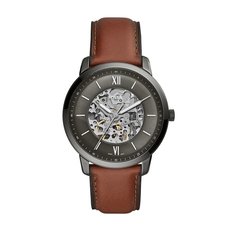 Fossil Men's Skeleton Dial Brown Leather Strap Watch - Product number 2989042