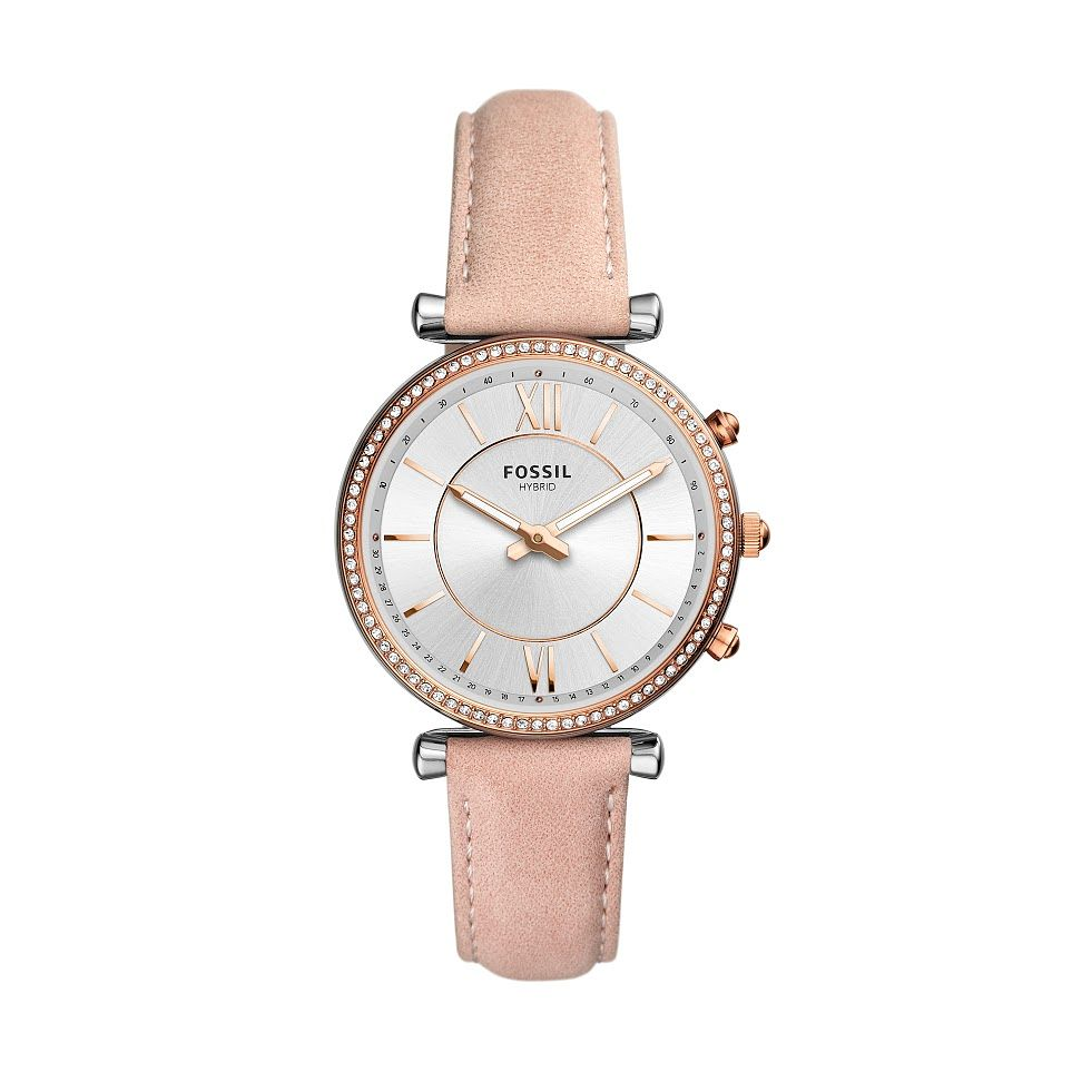 Fossil Ladies' Stone Set Pink Leather Strap Smartwatch - Product number 2989271