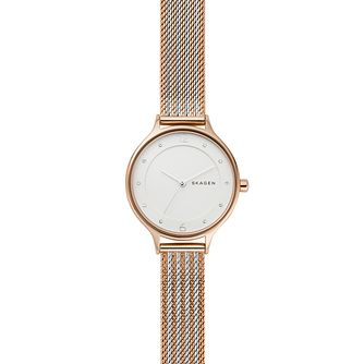 Skagen Anita Ladies' Two Tone Bracelet Mesh Watch - Product number 2989468