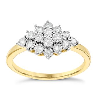 9ct Yellow Gold 0.12ct Total Diamond Cluster Ring - Product number 2991098