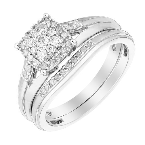 Perfect Fit 9ct White Gold Diamond Cluster Bridal Set - Product number 2992396