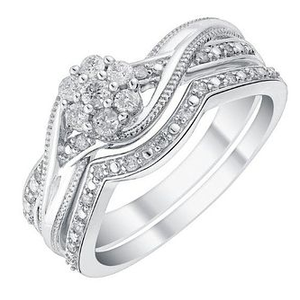 9ct White Gold & Diamond Perfect Fit Bridal Set - Product number 2993058