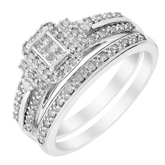 Perfect Fit 9ct White Gold & Diamond Bridal Set - Product number 2993325