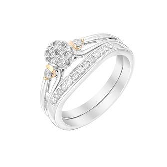 9ct White & Rose Gold 1/5ct Diamond Perfect Fit Bridal Set - Product number 2994135