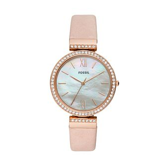 Fossil Ladies' Rose Gold Plated Stone Set Strap Watch - Product number 2995700