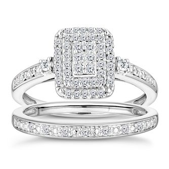 9ct White Gold 1/3 Diamond Perfect Fit Bridal Set - Product number 2997185