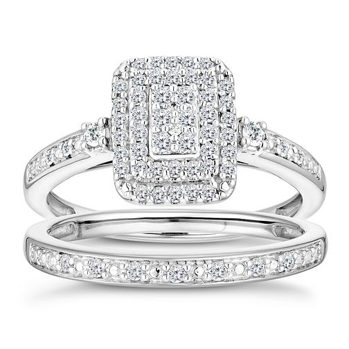 9ct White Gold 1/3ct Diamond Perfect Fit Bridal Set - Product number 2997185