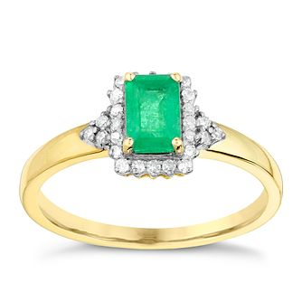 9ct Yellow Gold Rectangular Emerald & Diamond Ring - Product number 2998262