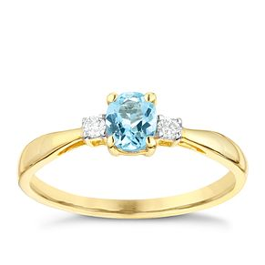9ct Yellow Gold Aquamarine & Diamond Ring - Product number 2998416