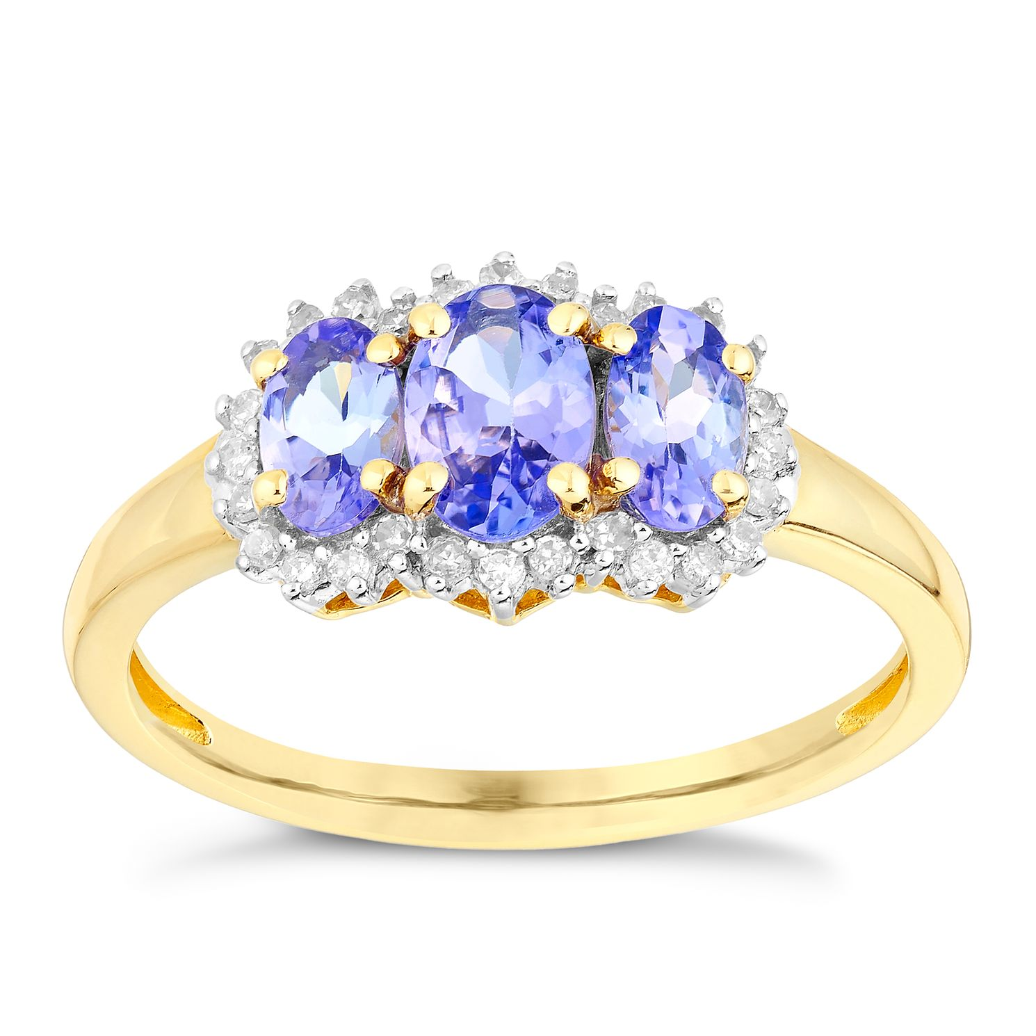 9ct Yellow Gold Three Stone Tanzanite & 0.10ct Diamond Ring - Product number 2998831