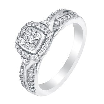 Perfect Fit 18ct White Gold 1/3 Carat Diamond Cluster Ring - Product number 2999706