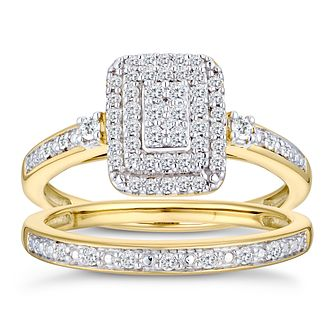 9ct Yellow Gold 1/3ct Diamond Perfect Fit Bridal Set - Product number 3000001