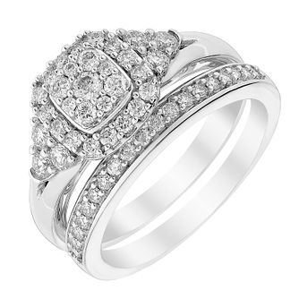 Perfect Fit 18ct White Gold & Diamond Bridal Set - Product number 3000362