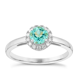 9ct White Gold Apatite & Diamond Ring - Product number 3000516