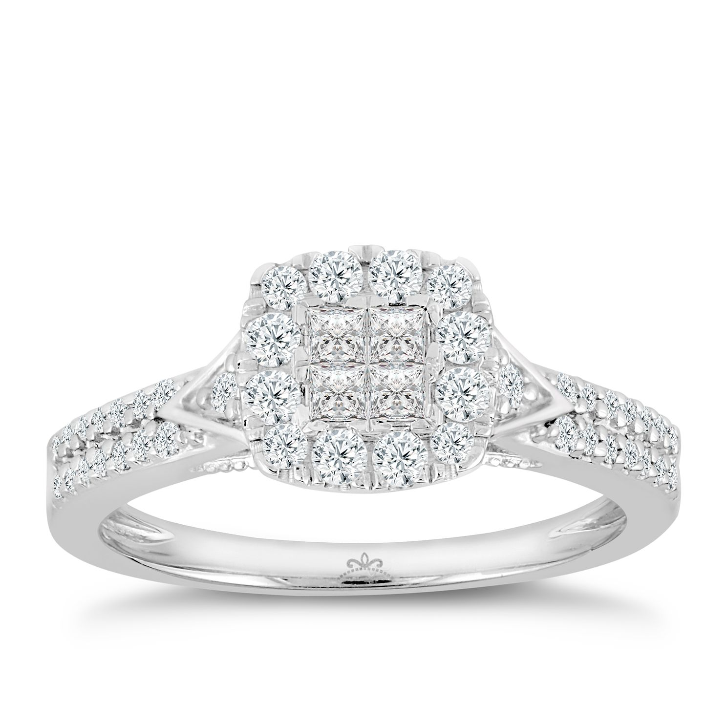 Princessa 9ct White Gold 0.50ct Diamond Ring - Product number 3002535