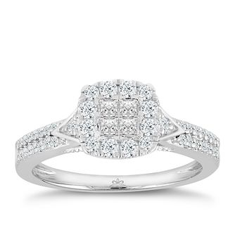 Princessa 9ct White Gold ½ ct Diamond Ring - Product number 3002535