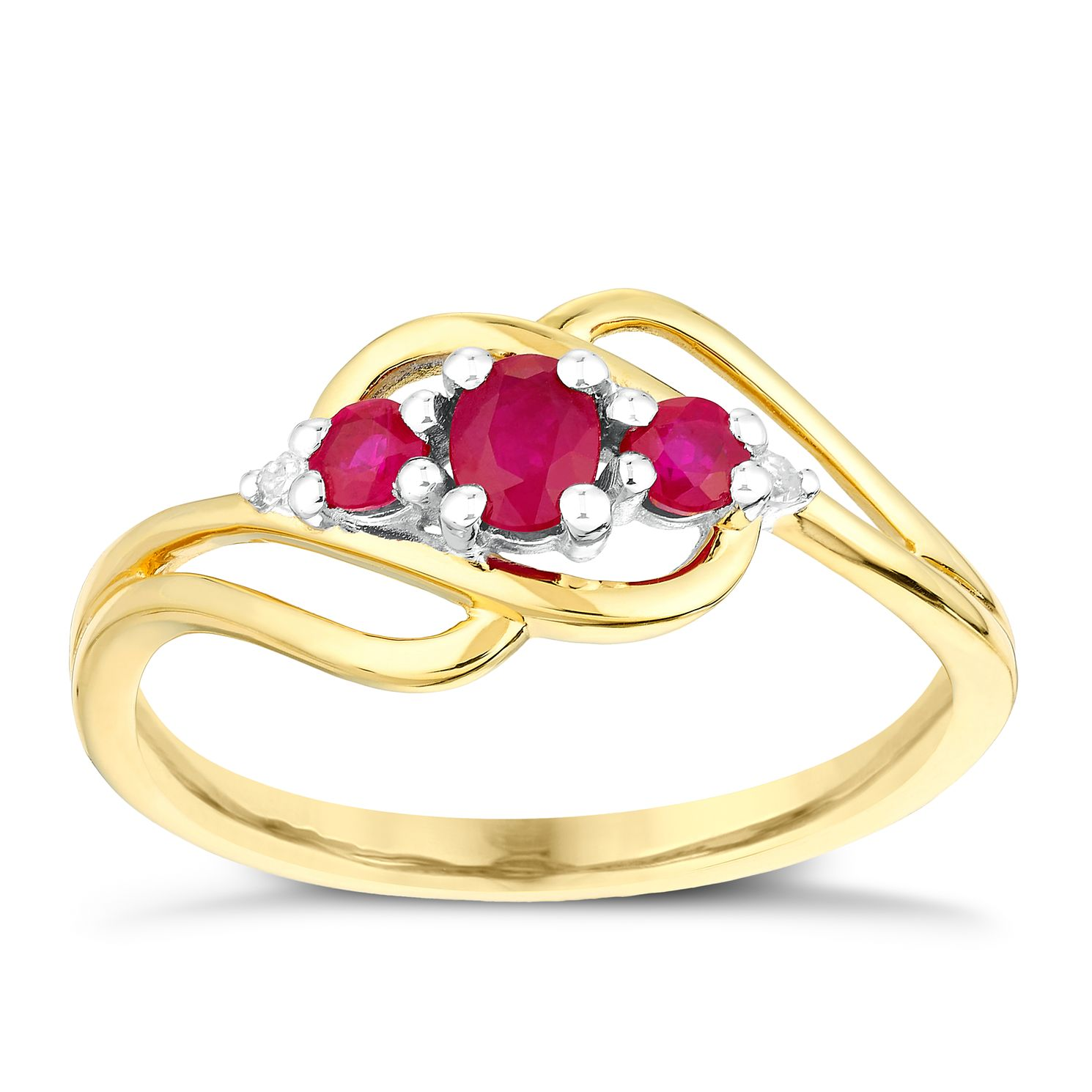 9ct Yellow Gold Three Stone Ruby & Diamond Ring - Product number 3003264