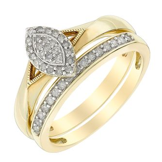 Perfect Fit 9ct Yellow Gold Marquis Diamond Bridal Set - Product number 3003868