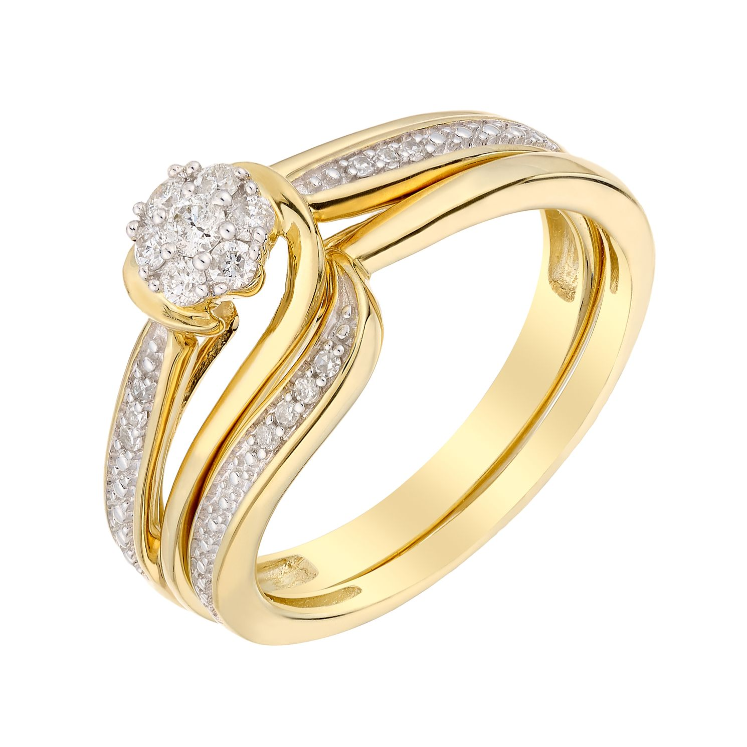 Perfect Fit 9ct Yellow Gold 0.15ct Total Diamond Bridal Set - Product number 3004260