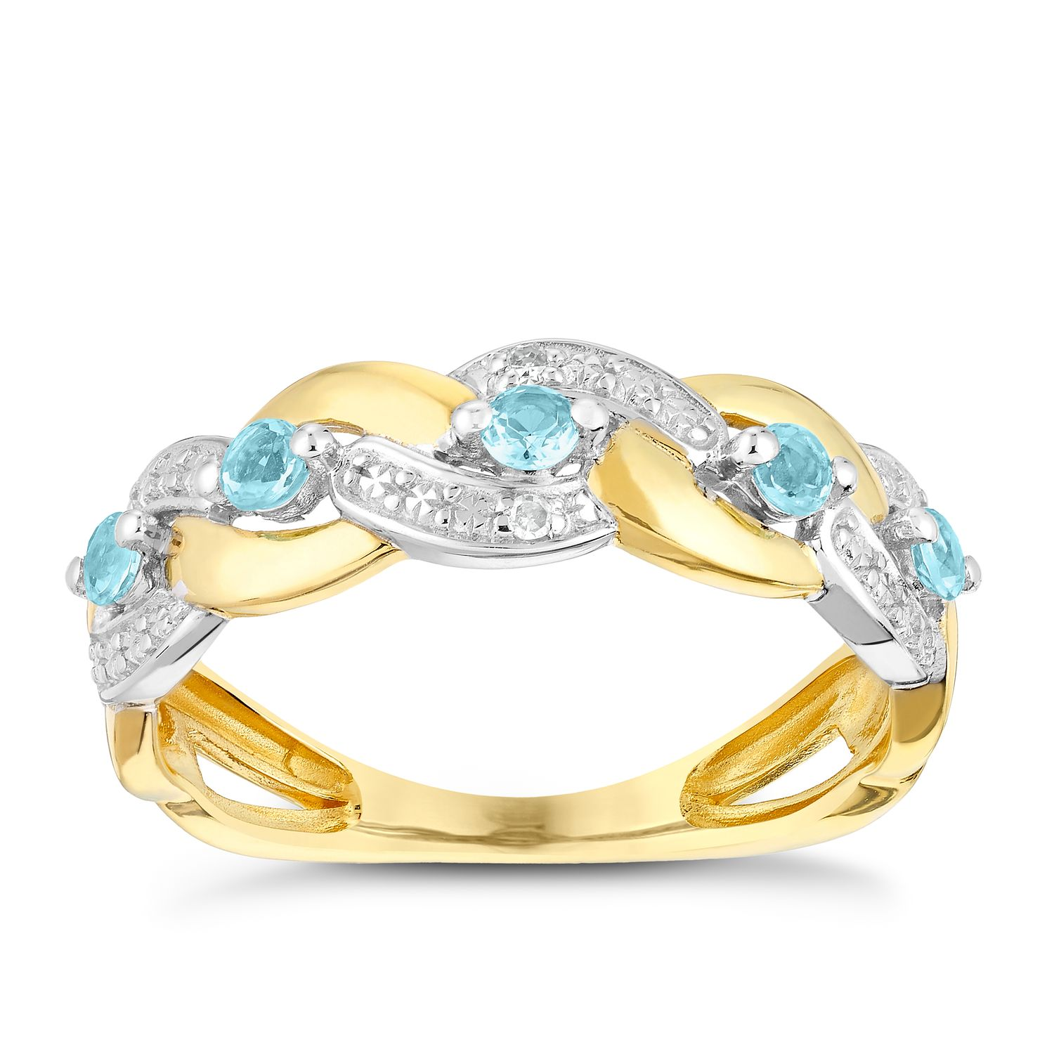 9ct Yellow Gold Woven Aquamarine & Diamond Eternity Ring - Product number 3005399