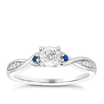 9ct White Gold Illusion Set Diamond & Sapphire Ring - Product number 3005666
