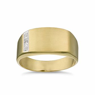 Men's 9ct Yellow Gold Diamond Signet Ring - Product number 3020142