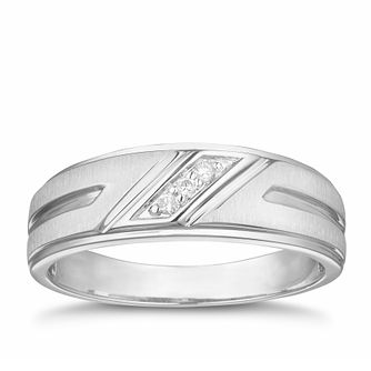 Men's 9ct White Gold Diamond Signet Ring - Product number 3021238