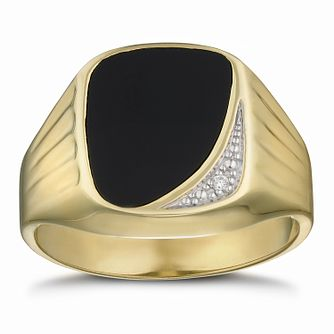 Men's 9ct Yellow Gold Diamond & Black Onyx Signet Ring - Product number 3021513